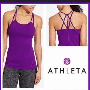 Athleta Empower S purple strappy active tank top